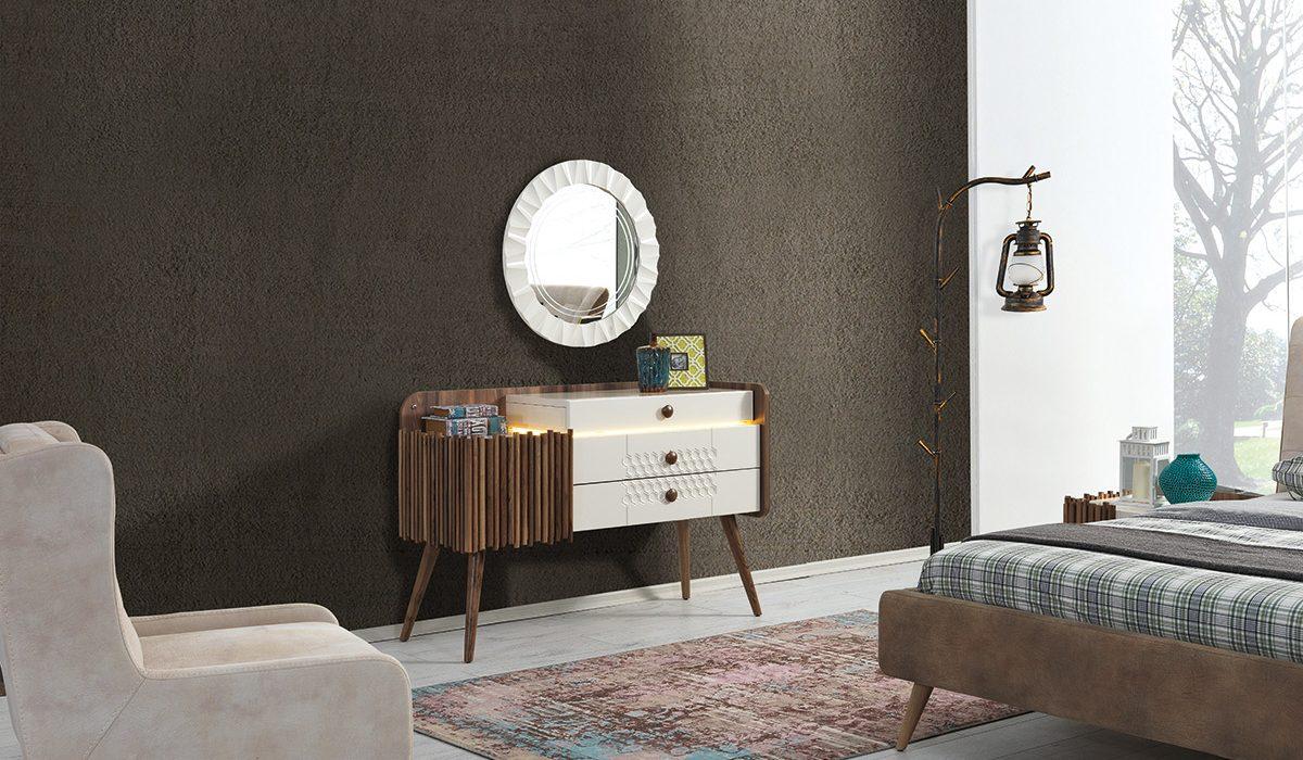 poze cu Comoda cu oglinda din MDF si lemn de nuc Roma