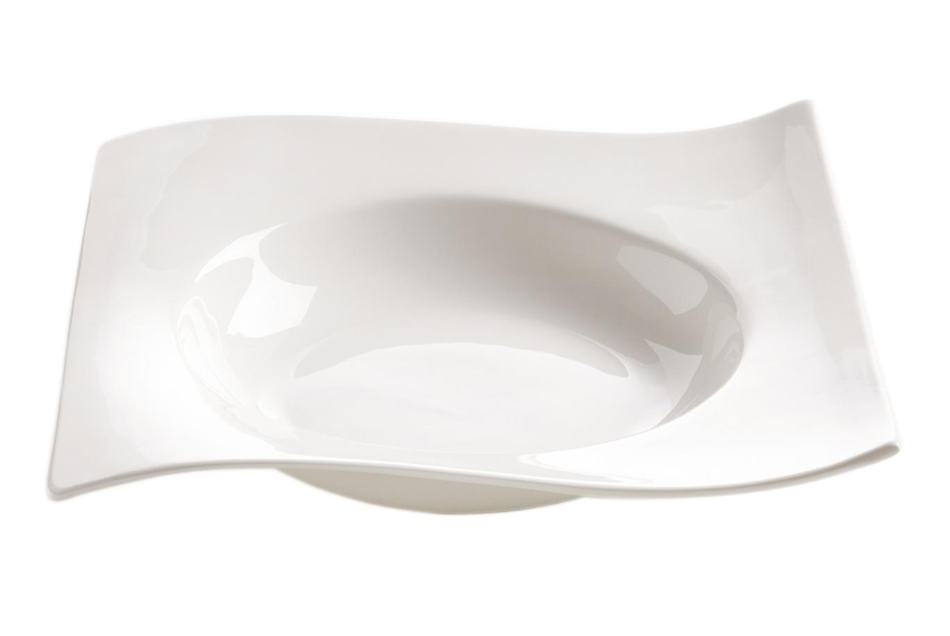 Set 4 Farfurii pentru supa Motion Alb, Portelan, l22 cm
