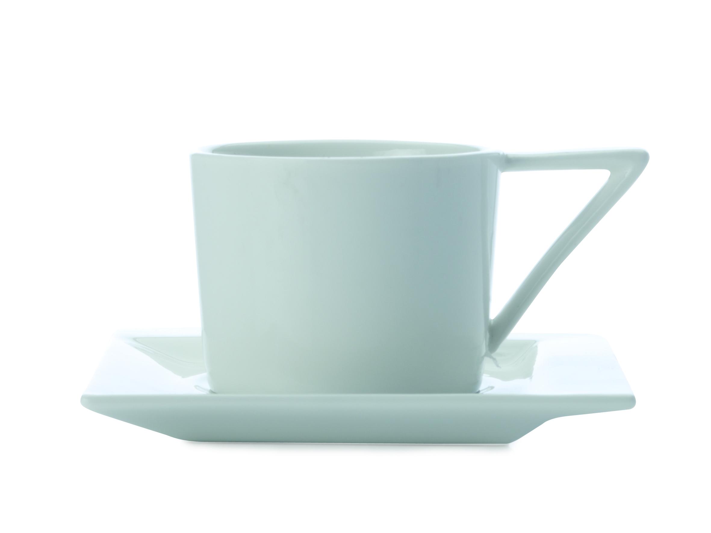 Set 4 cesti cafea ZiiZ, Portelan, Alb, 80 ml