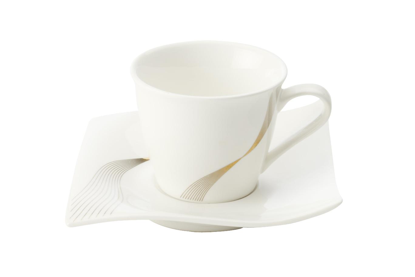 Set 4 cesti Espresso cu farfurie, Alb, Frequency, 110 ml