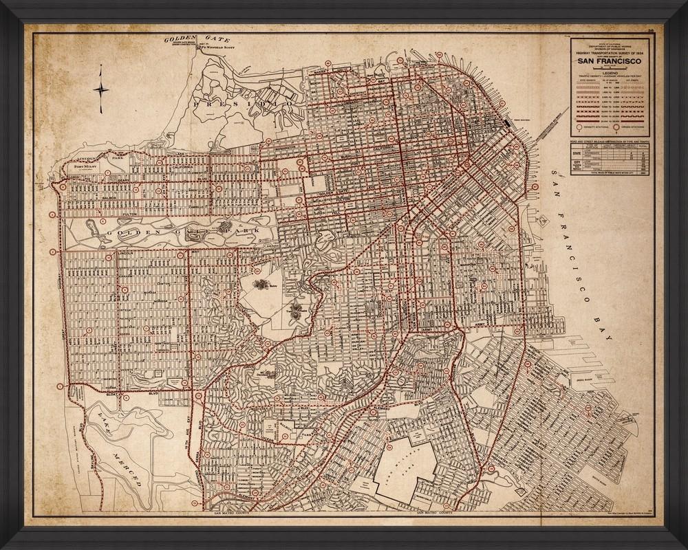 Tablou Framed Art San Francisco Transportation Map