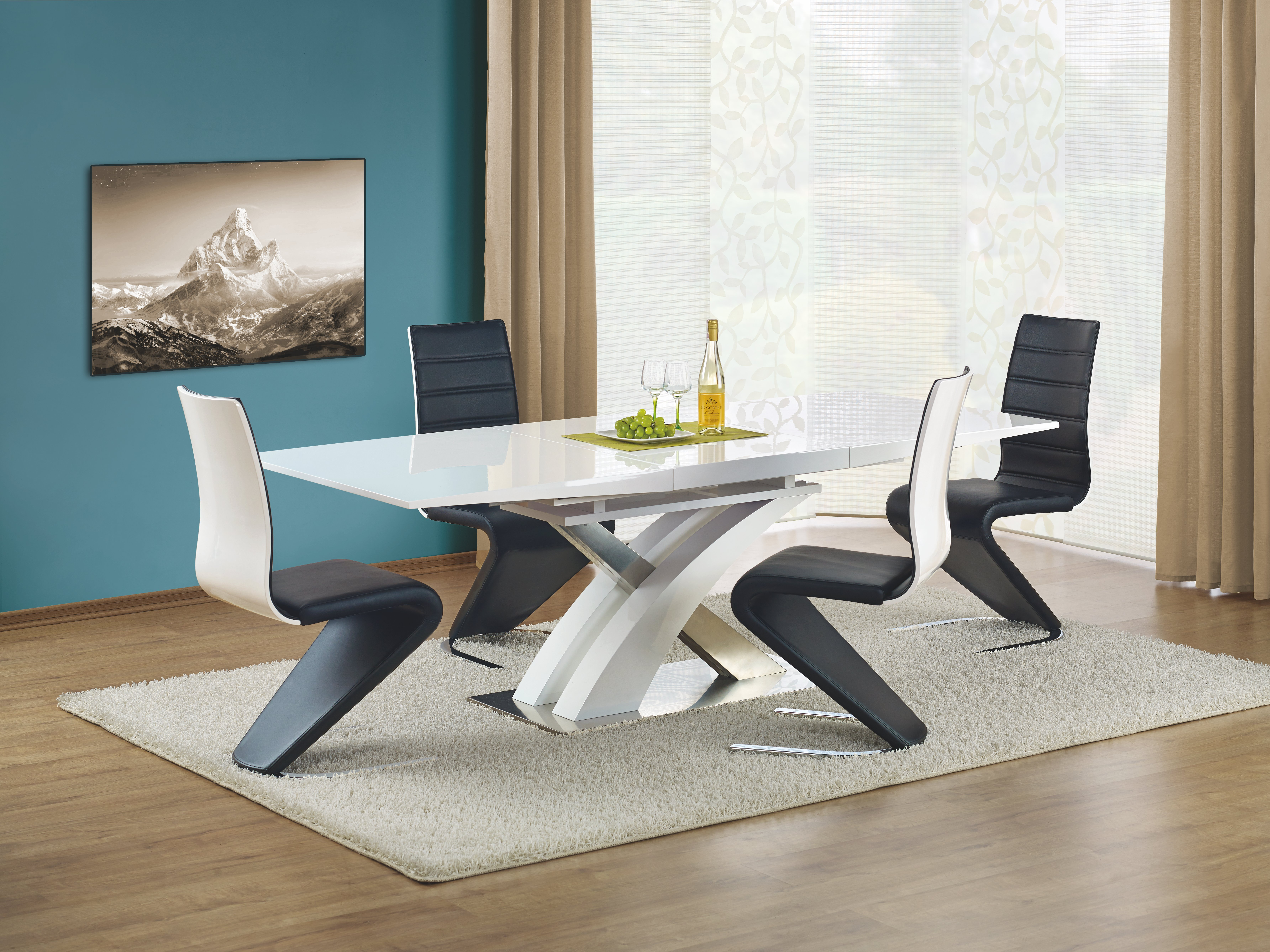 Set masa extensibila din MDF si metal Sandor White + 4 scaune K194 Black / White, L160-220xl90xH77 cm imagine