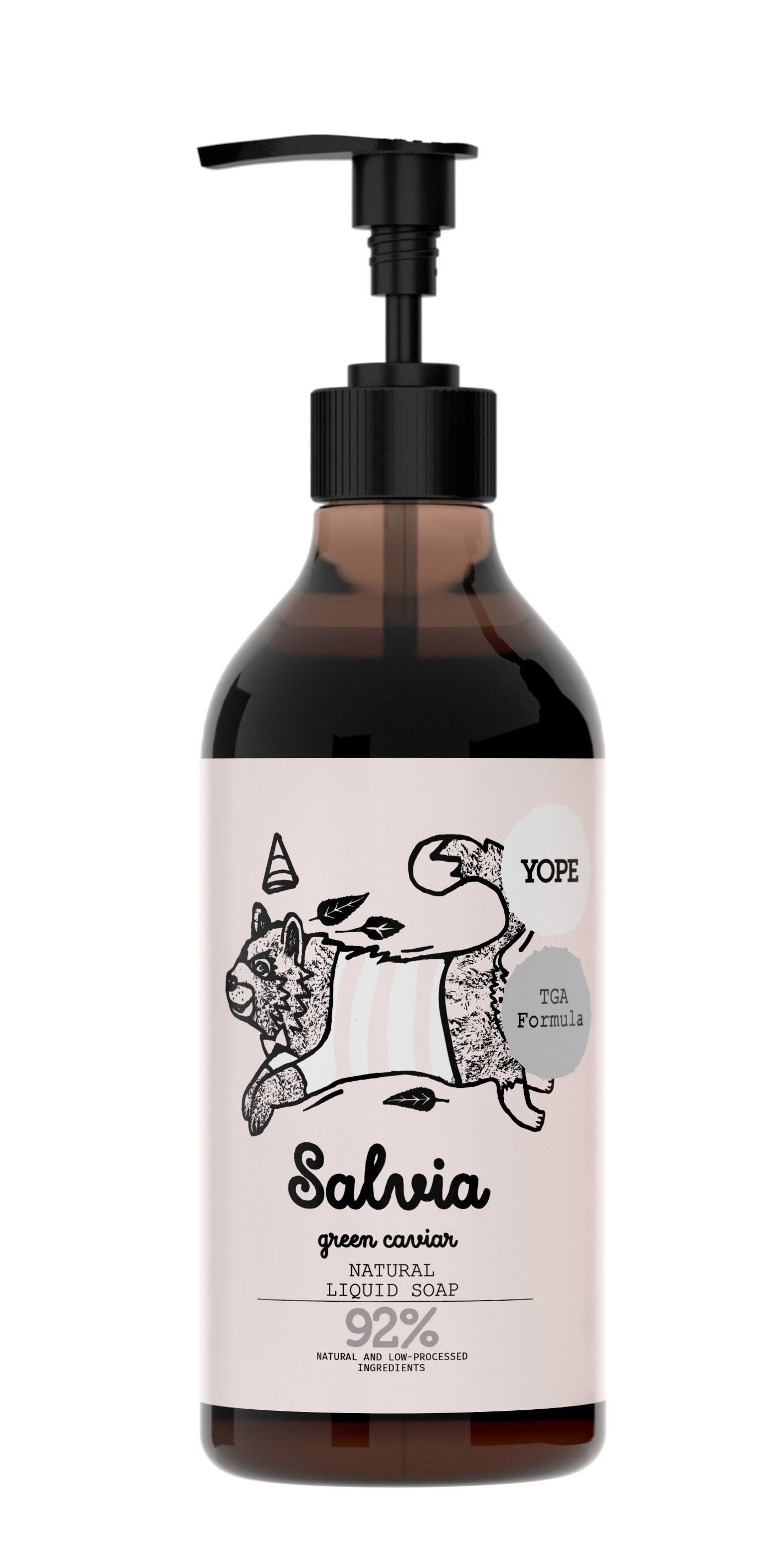 Sapun de maini cu formula TGA, salvie si caviar verde, ingrediente naturale, 500 ml, Yope somproduct.ro