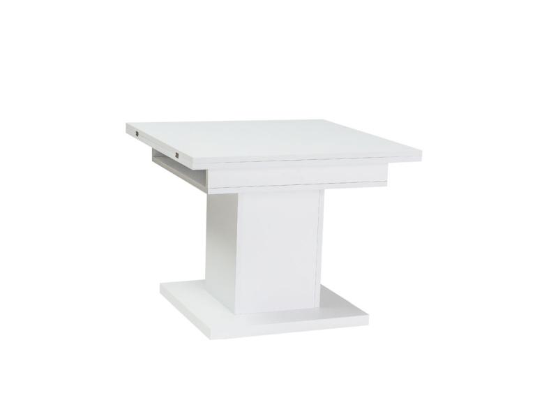 Masa extensibila din pal Scala White, L75-150xl75xh59-76 cm