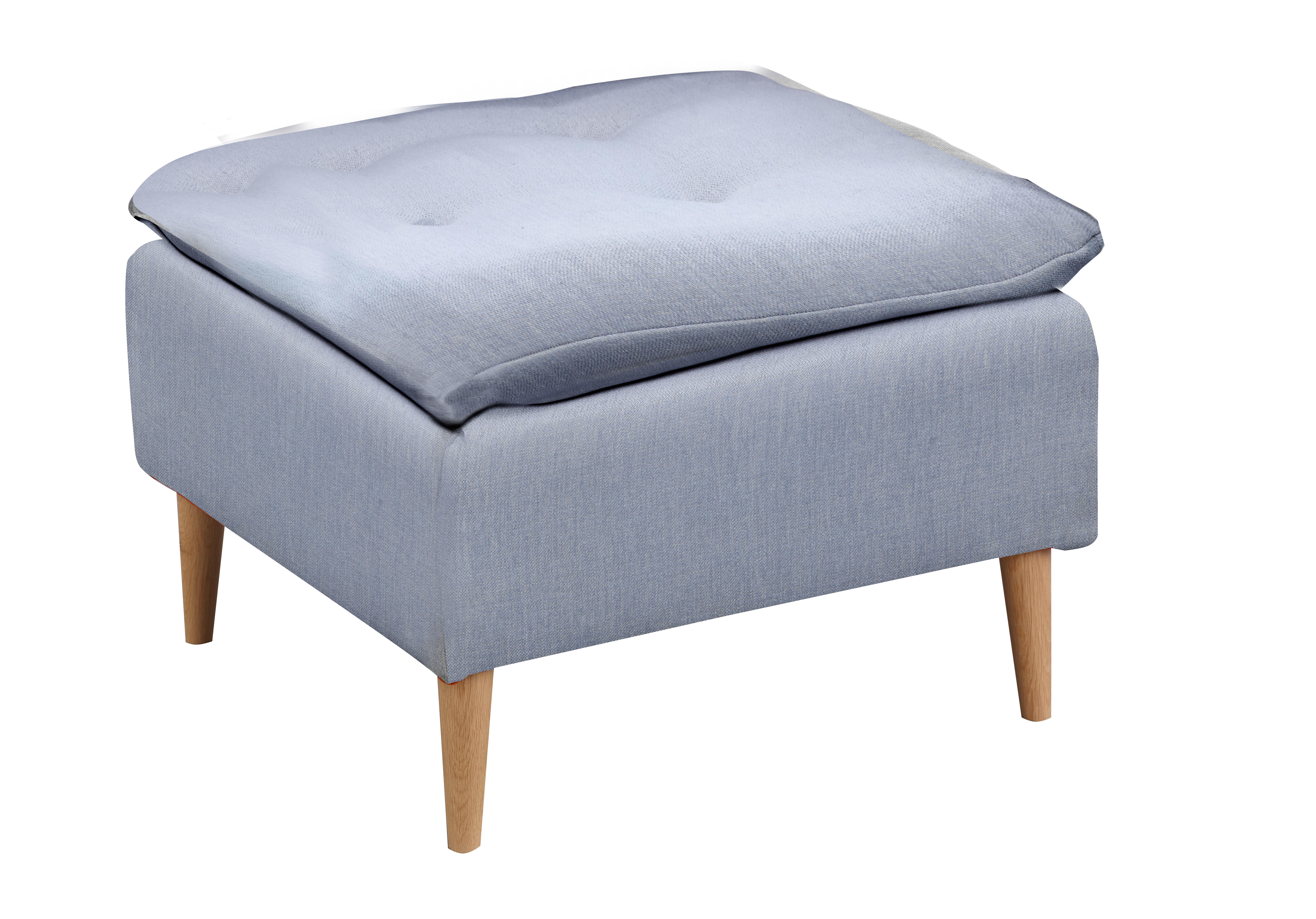 Taburet tapitat cu stofa, cu picioare din lemn Skandia Blue, l60xA60xH42 cm de la