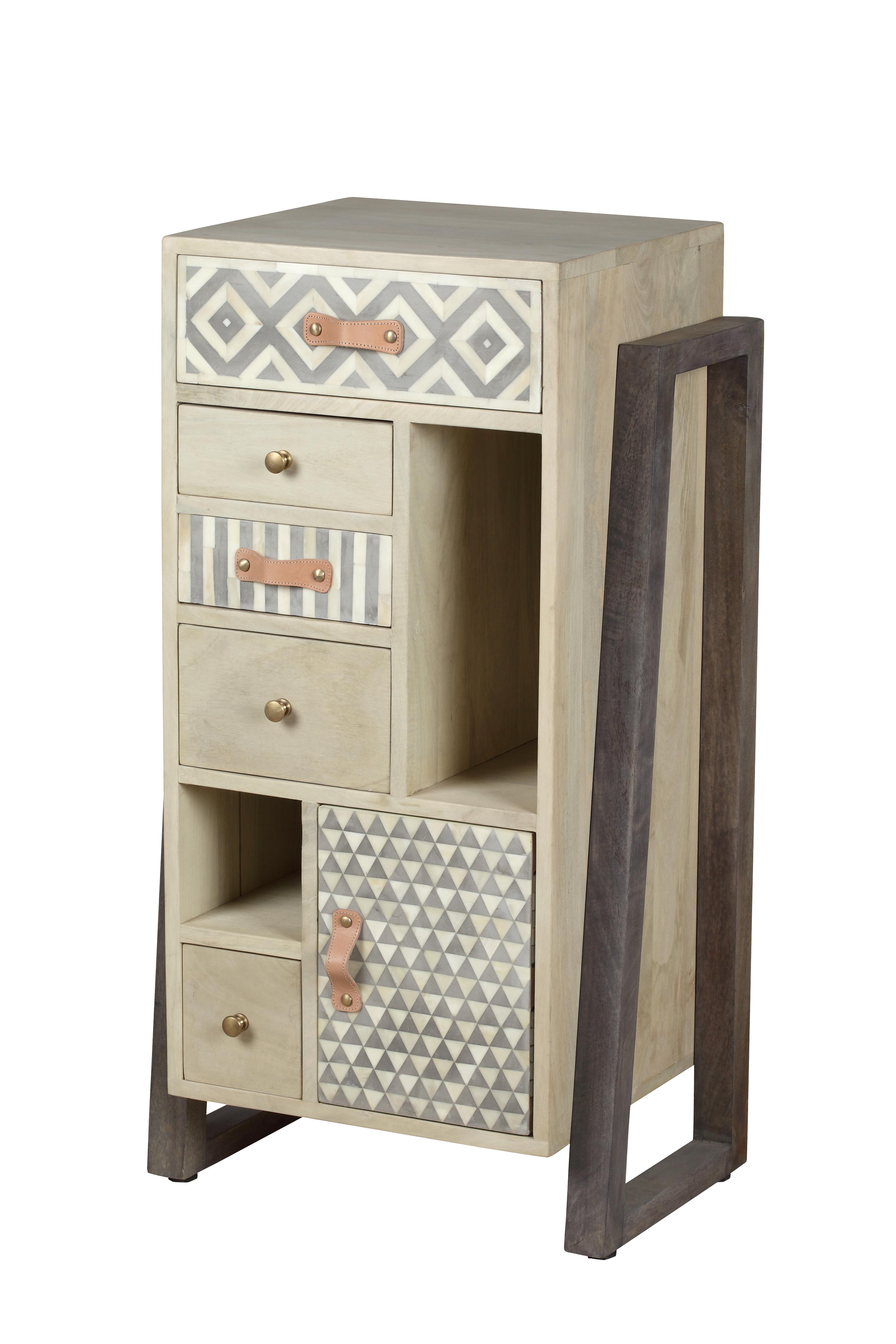 Cabinet din lemn cu 5 sertare si 1 usa Doyle Natural l45xA33xH85 cm