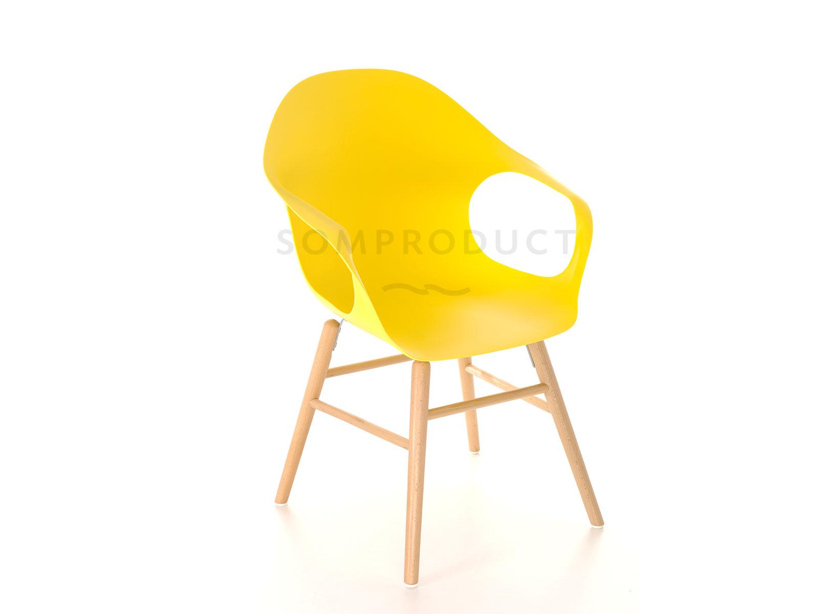 Scaun din plastic cu picioare de lemn Britt Yellow, l58,5xA62,5xH86 cm