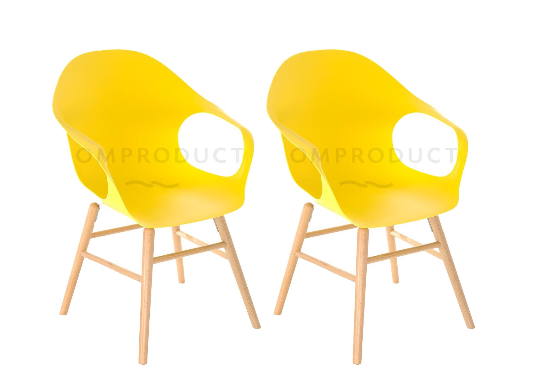 Set Scaune Plastic Picioare Lemn Galben Poza