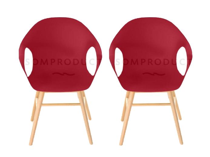 Set 2 scaune din plastic cu picioare de lemn Britt Red l585xA625xH86 cm