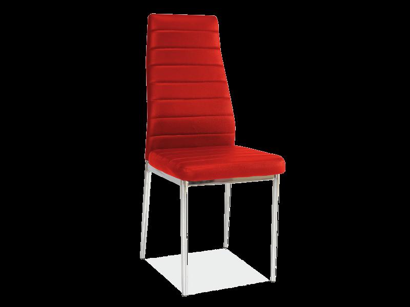 Scaun tapitat cu piele ecologica, cu picioare metalice H-261 Red, l40xA38xH96 cm poza