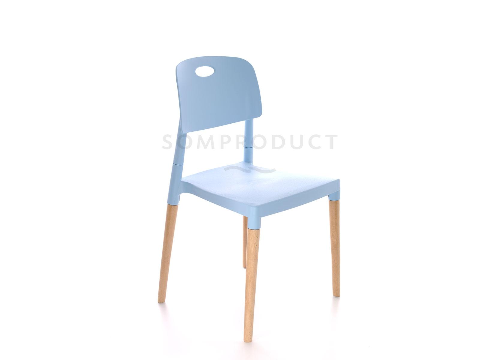 Scaun din plastic cu picioare din lemn Deo Albastru, l47xA48xH82,5 cm