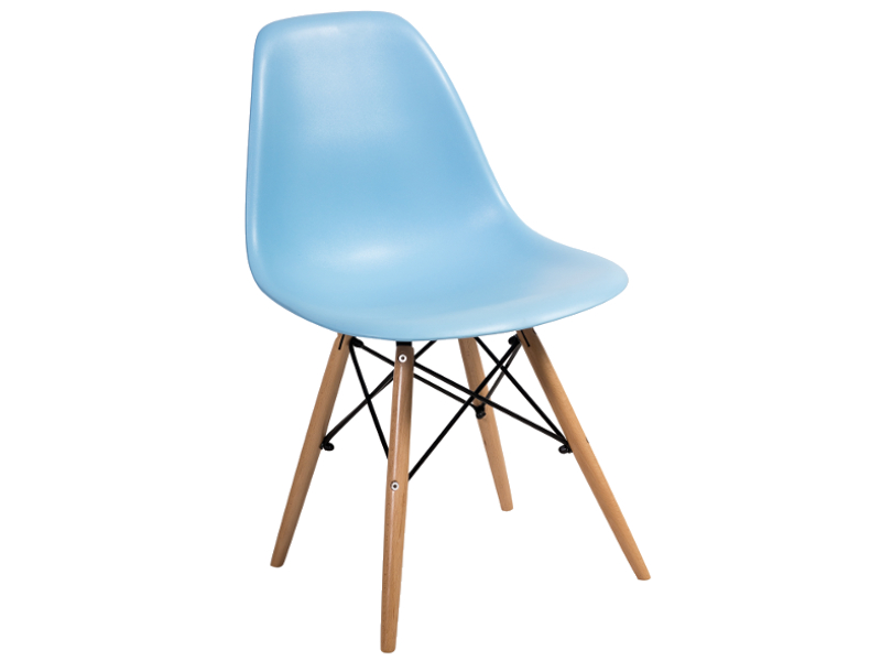 Scaun din plastic si lemn Enzo Albastru imagine