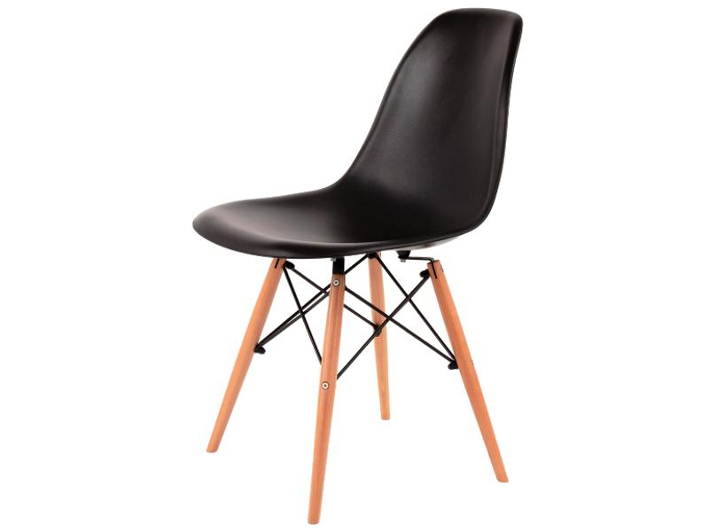 Scaun din plastic cu picioare din lemn Enzo Black / Beech, l43xA42xH83 cm poza