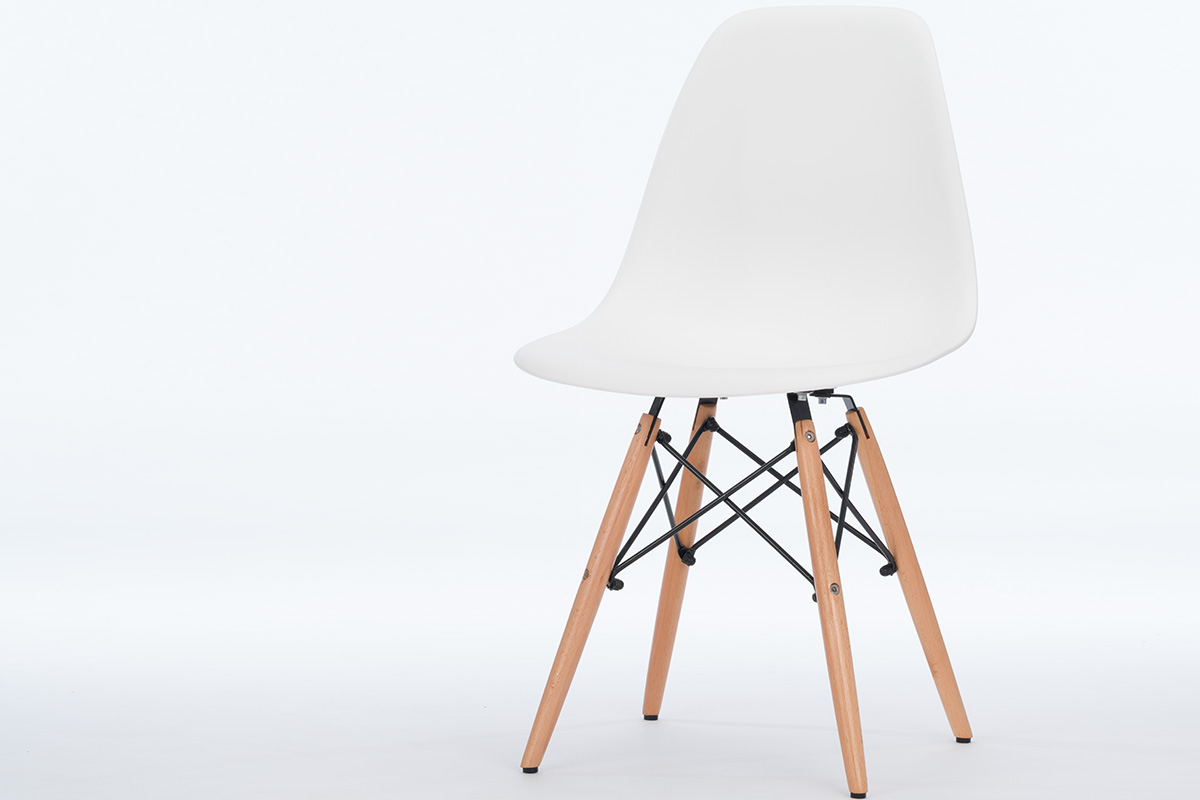 Scaun din plastic si lemn Enzo Alb