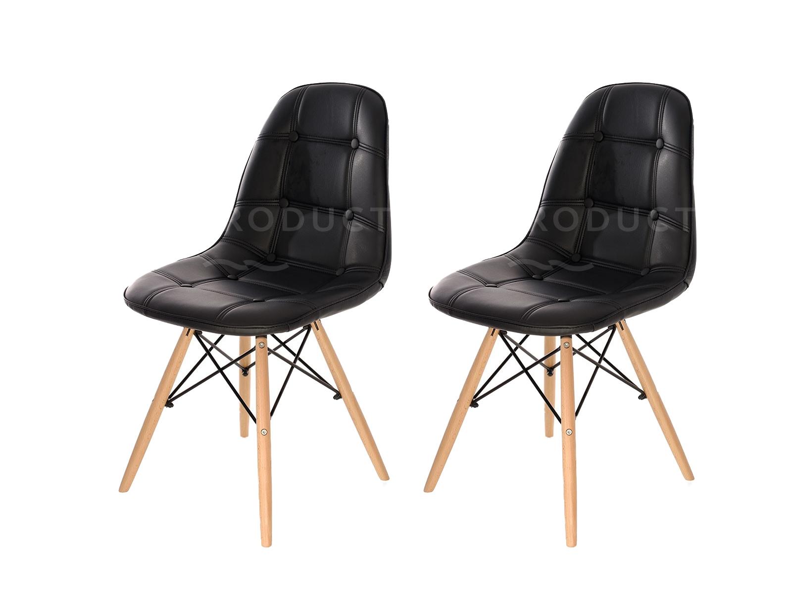 Set 2 scaune tapitate cu piele ecologica si picioare de lemn Iars Black l41xA36xH83 cm