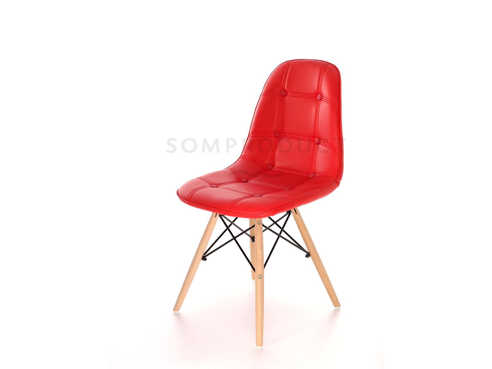 Scaun tapitat cu piele ecologica si picioare de lemn Iars Red l41xA36xH83 cm