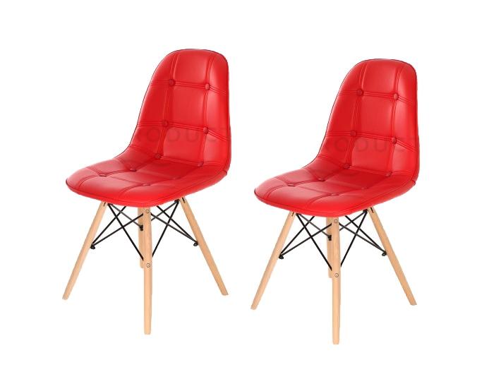 Set 2 scaune tapitate cu piele ecologica si picioare de lemn Iars Red l41xA36xH83 cm