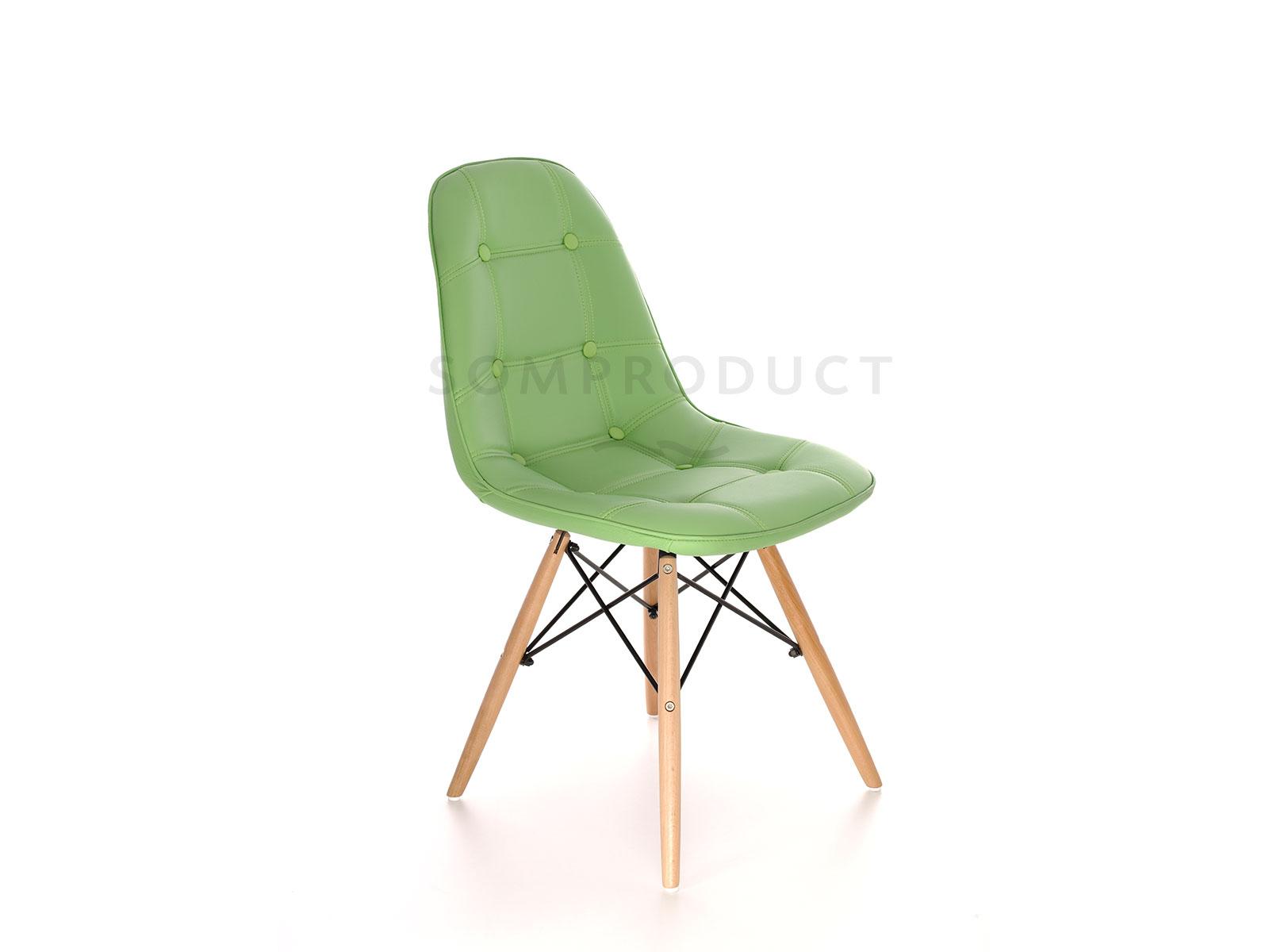 Scaun tapitat cu piele ecologica si picioare de lemn Iars Green l41xA36xH83 cm
