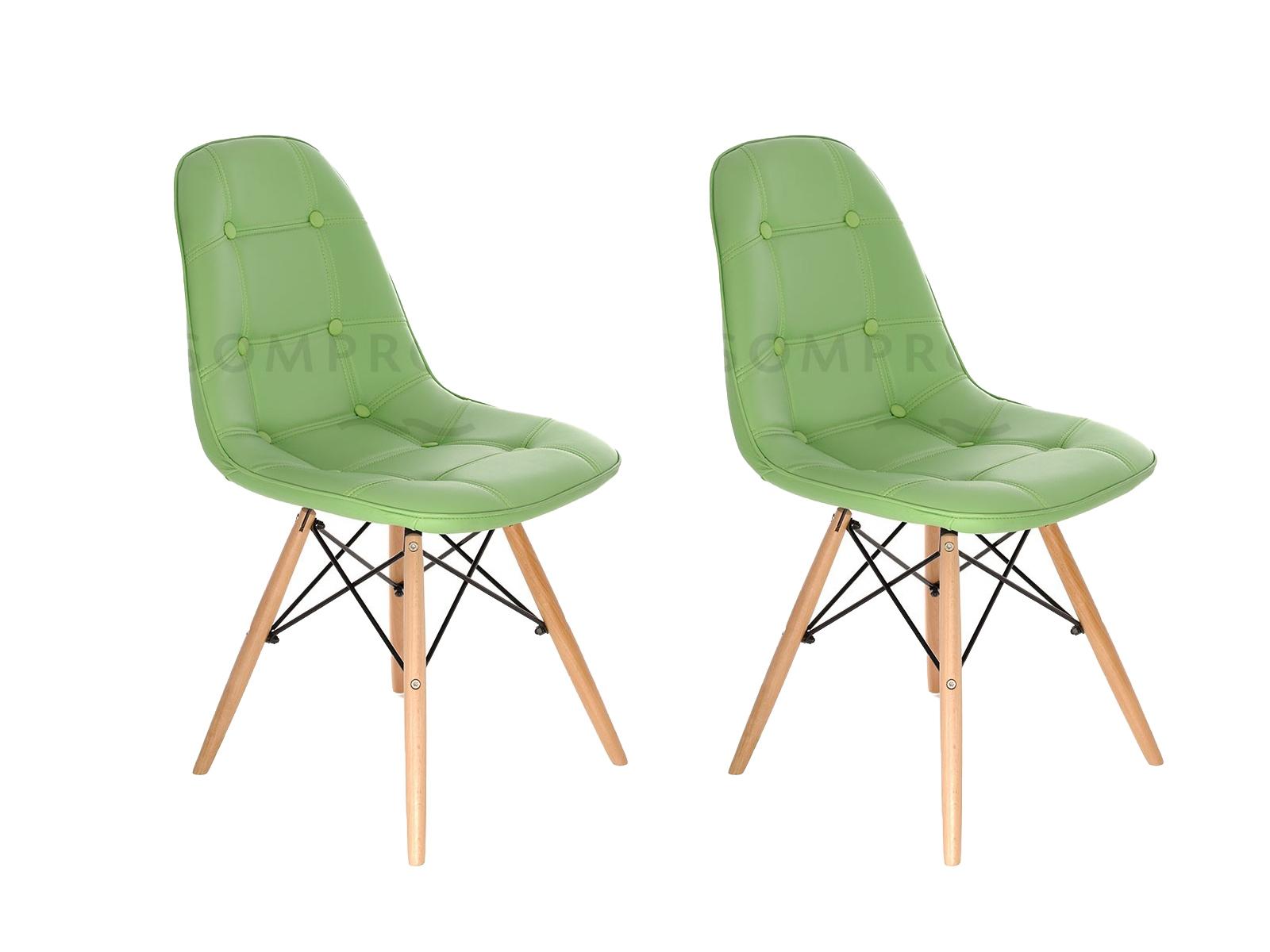 Set 2 scaune tapitate cu piele ecologica si picioare de lemn Iars Green l41xA36xH83 cm