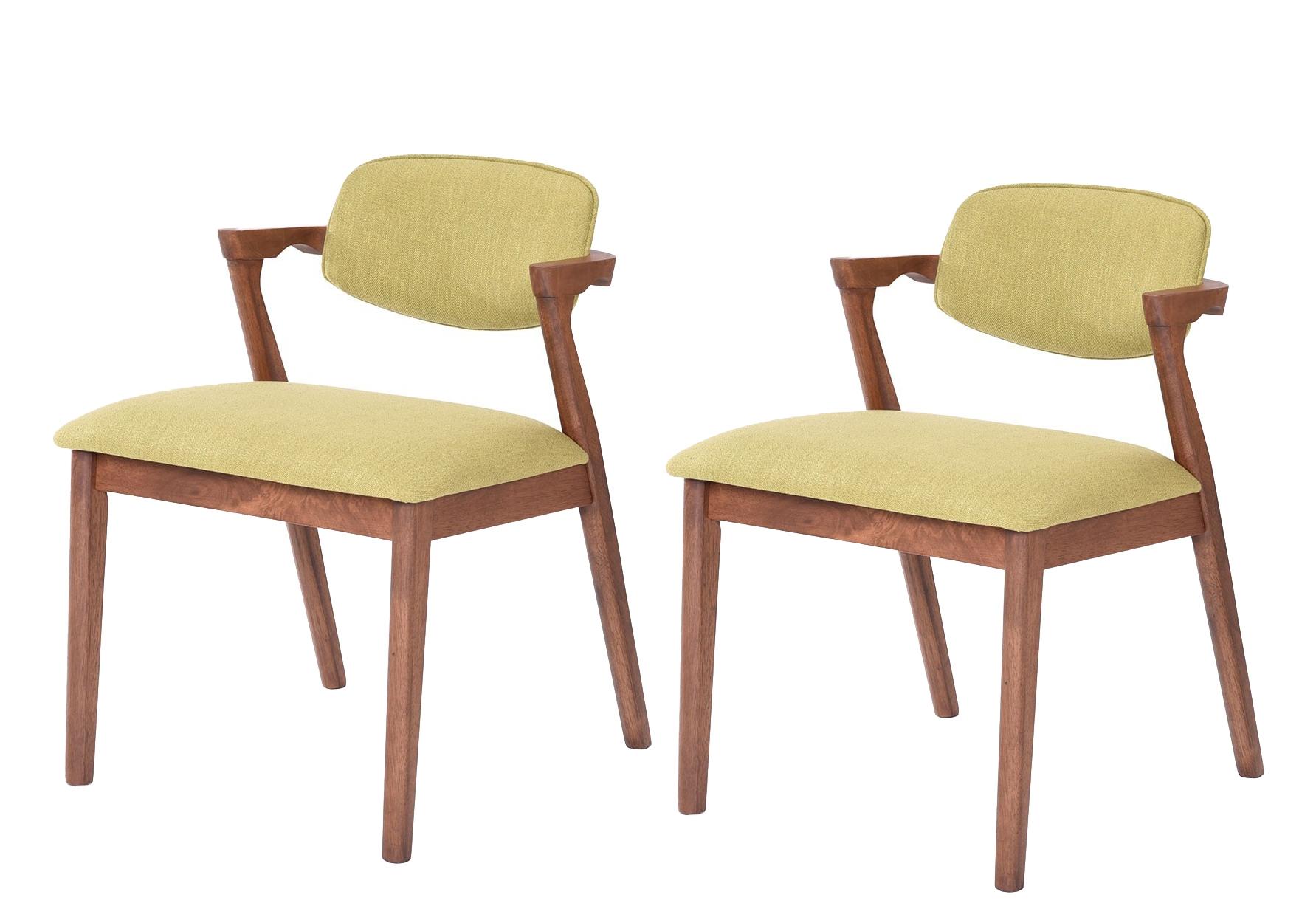 Set 2 scaune tapitate cu stofa water resistant Ivonne Green l59xA55xH795 cm