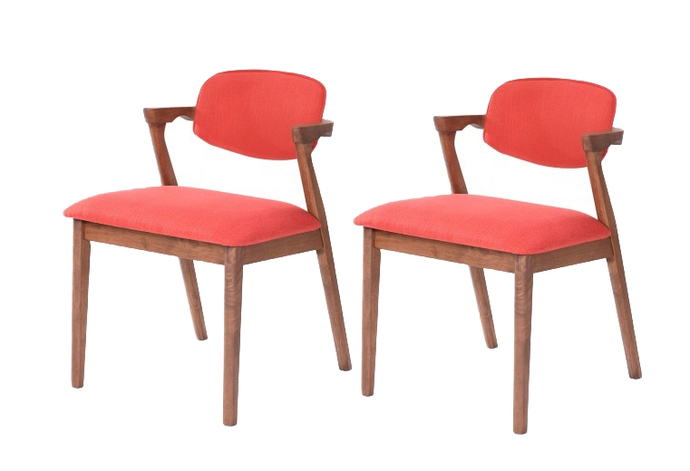 Set 2 scaune tapitate cu stofa water resistant Ivonne Red l59xA55xH795 cm