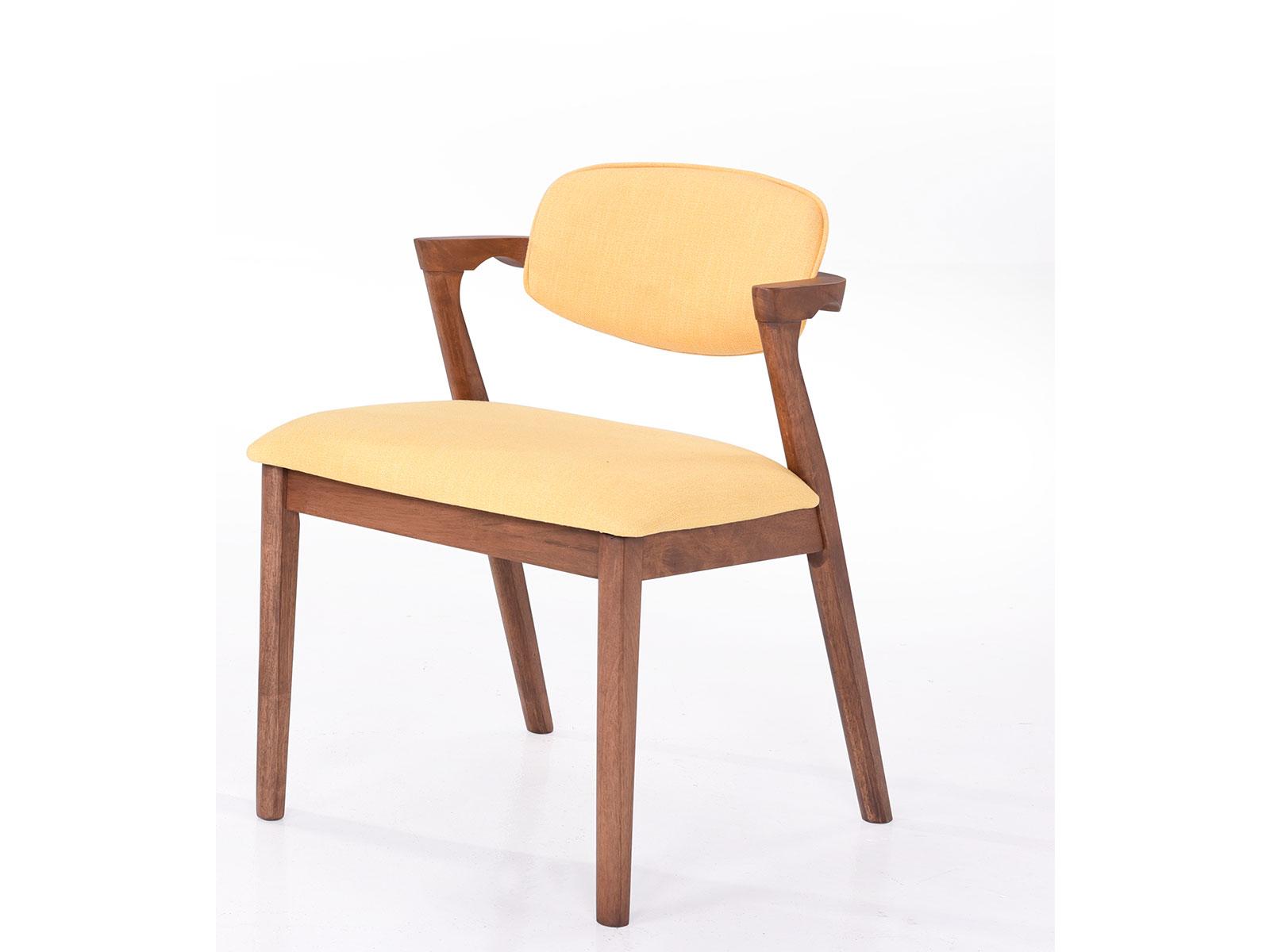 Scaun tapitat cu stofa water resistant, cu picioare din lemn Ivonne Galben, l59xA45xH79,5 cm