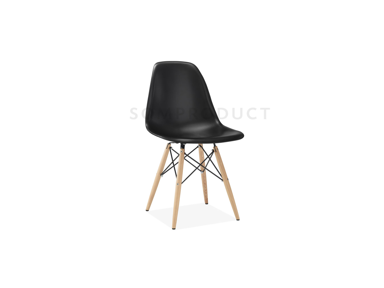Scaun din plastic cu picioare din lemn Lois Black l46xA37xH81 cm