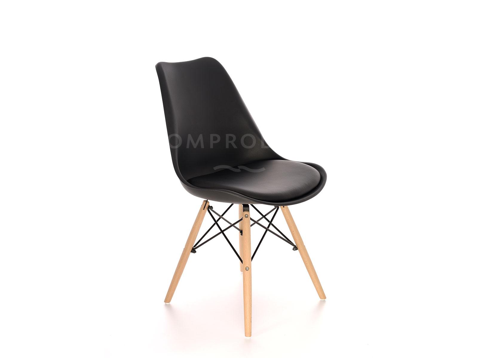 Scaun din plastic, cu picioare de lemn si sezut tapitat cu piele ecologica, Orlando Black, l56xA46xH81 cm