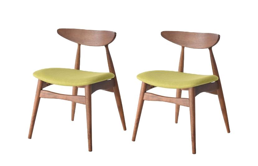 Set 2 scaune din lemn cu sezut tapitat cu stofa Jana Green l52xA495xH73 cm