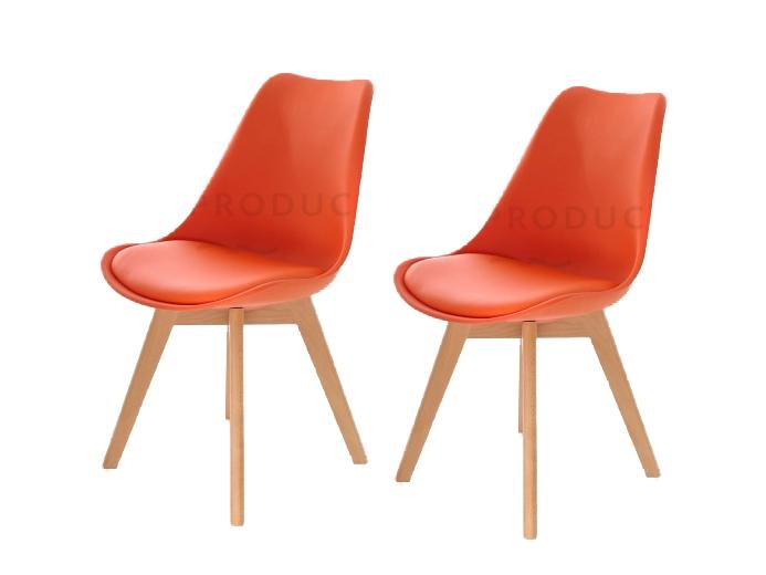 Set 2 scaune din plastic cu picioare din lemn si sezut tapitat cu piele ecologica Sven Orange l46xA43xH80 cm