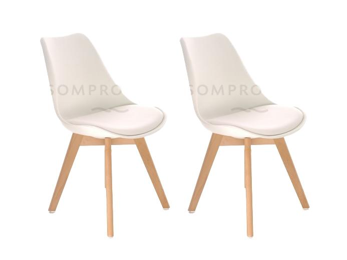 Set 2 scaune din plastic cu picioare din lemn si sezut tapitat cu piele ecologica Sven White l46xA43xH80 cm