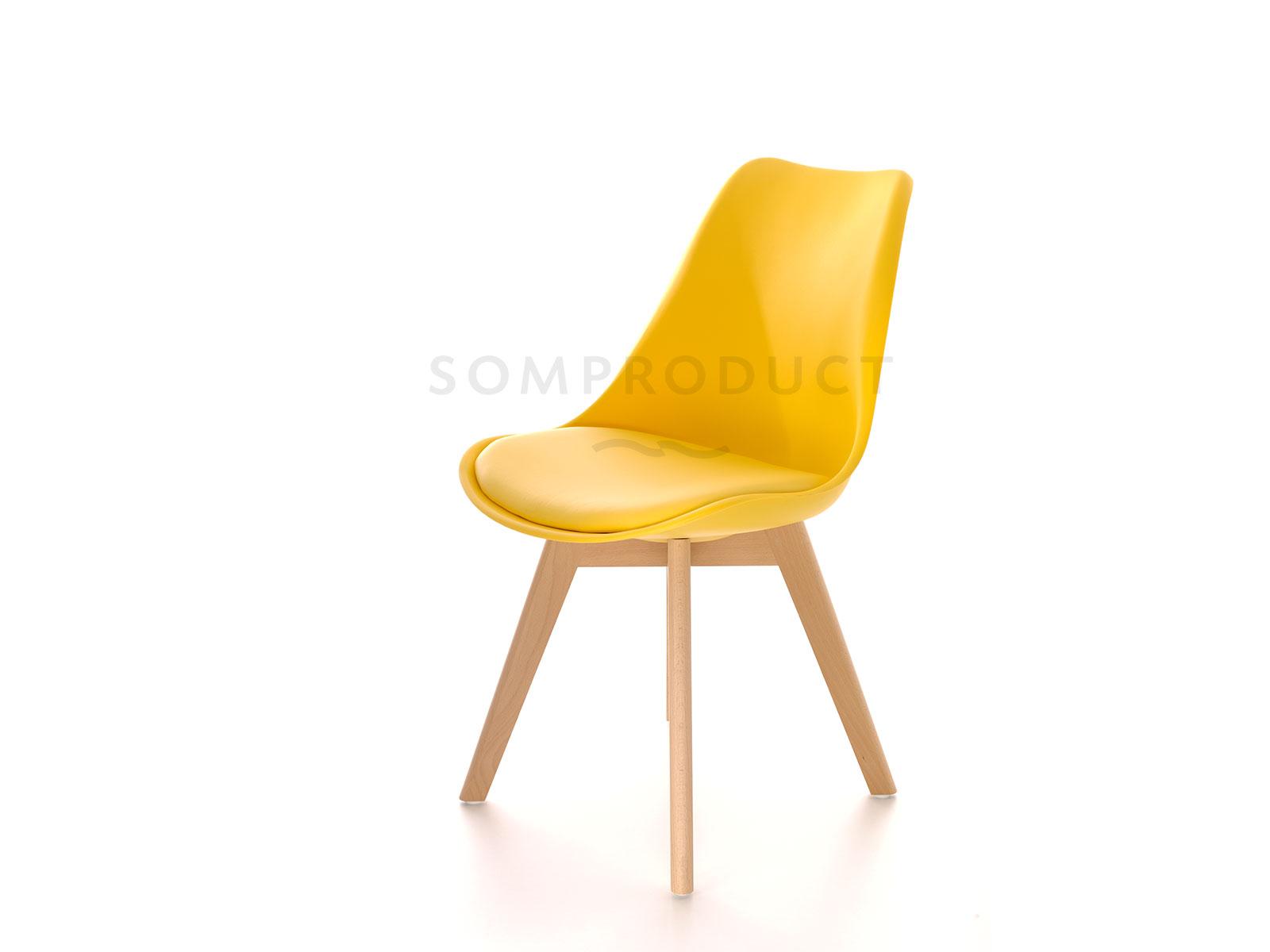 Scaun din plastic cu picioare din lemn si sezut tapitat cu piele ecologica Sven Yellow, l46xA43xH80 cm