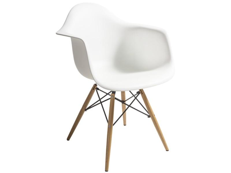 Scaun din plastic cu picioare din lemn Tingo White l62xA46xH83 cm