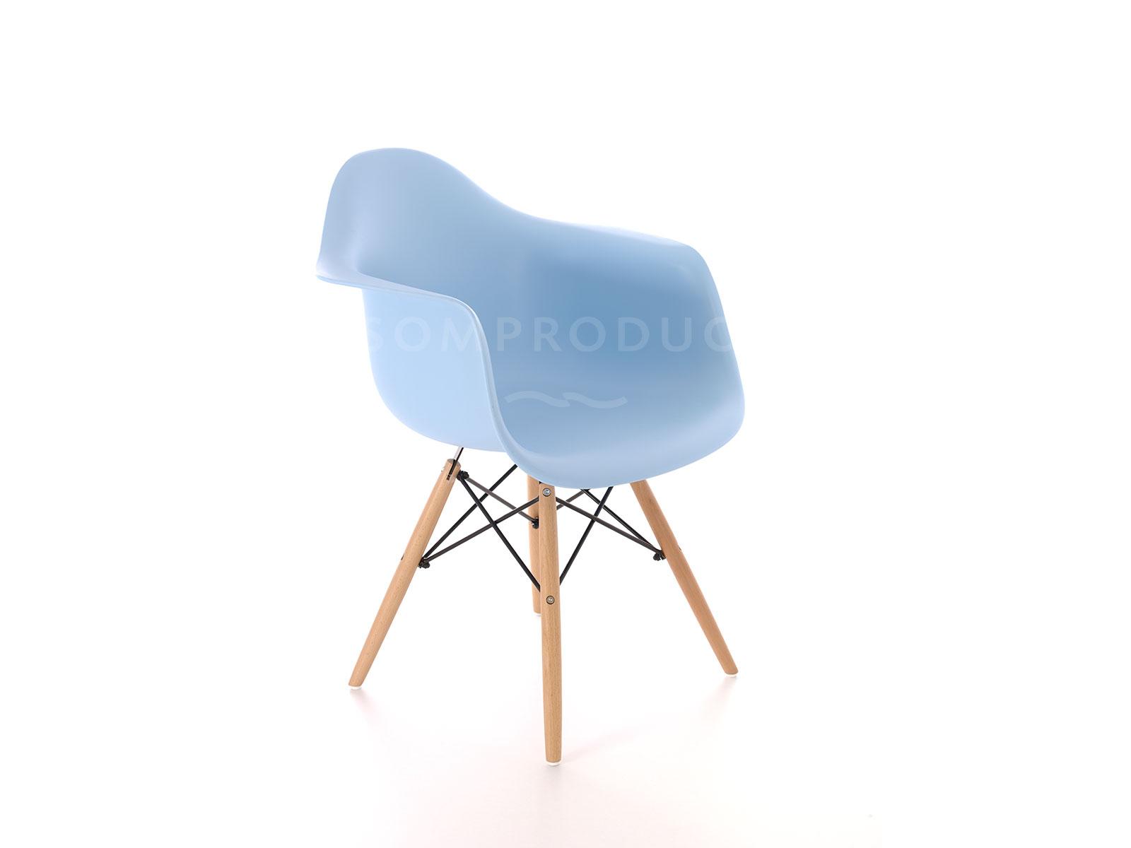 Scaun din plastic cu picioare din lemn Tingo Blue, l62xA46xH83 cm imagine