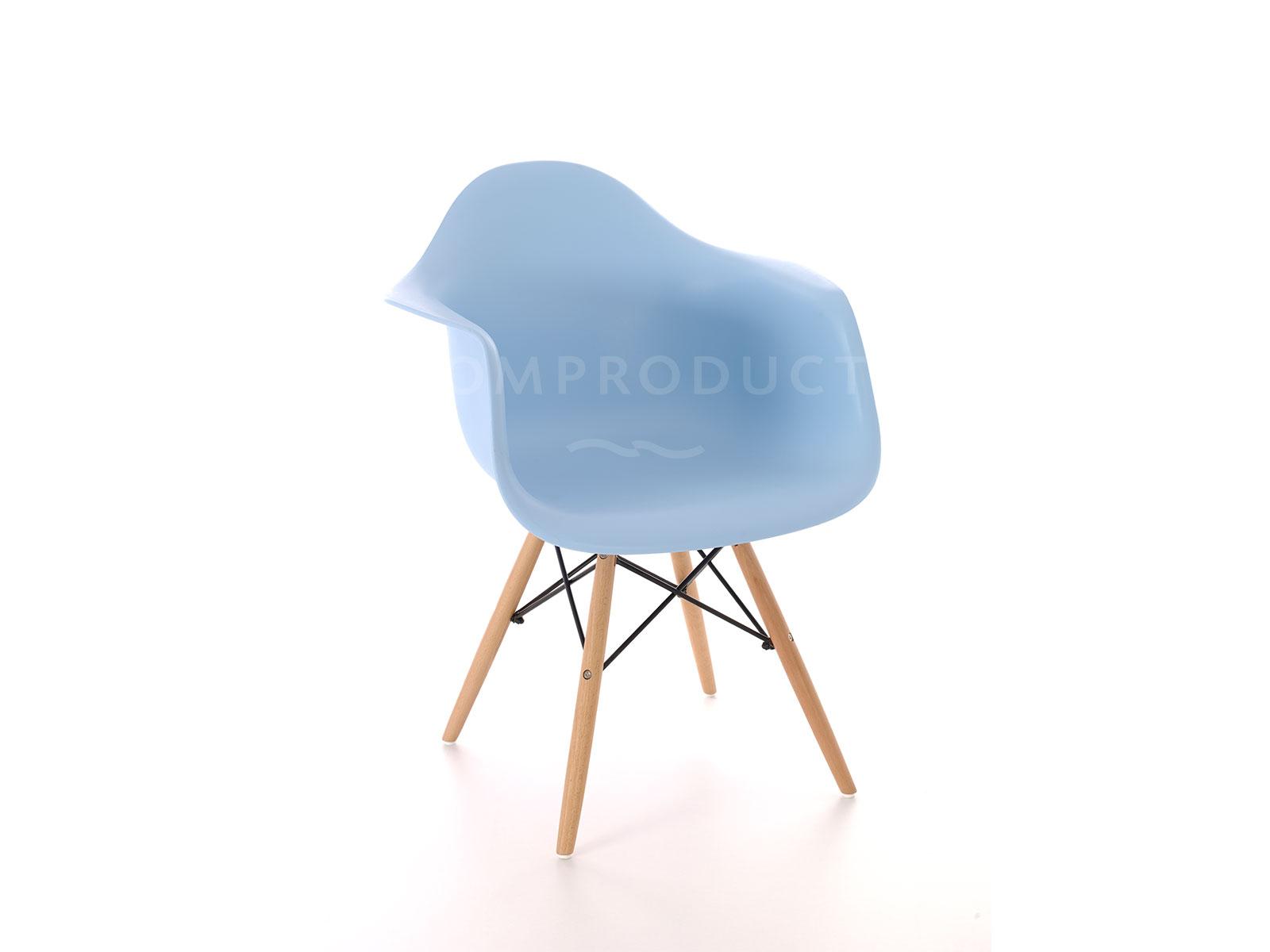 Scaun din plastic cu picioare din lemn Tingo Blue, l62xA46xH83 cm