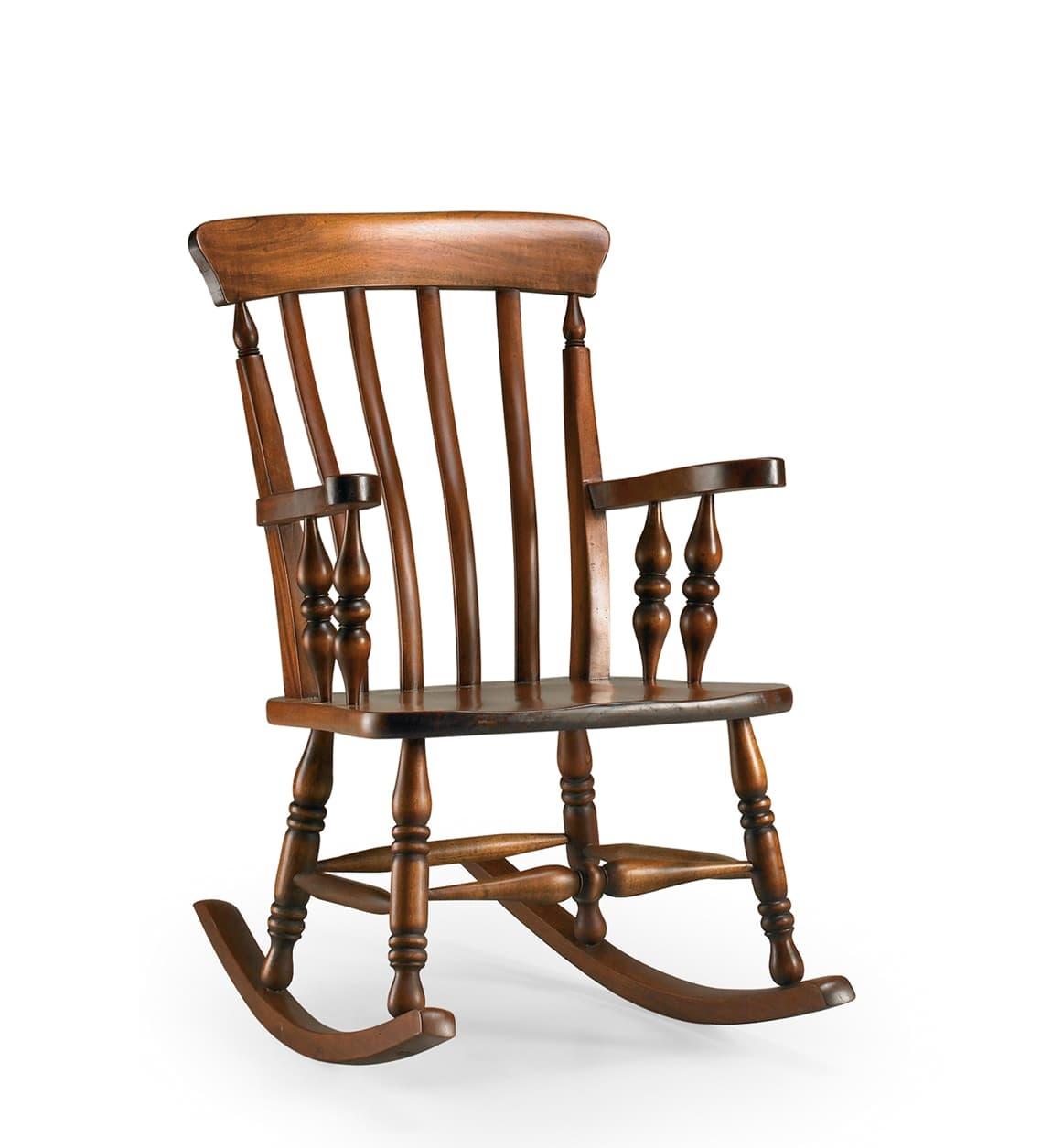 Scaun balansoar din lemn Vintage Nuc, l60xA85xH100 cm somproduct.ro