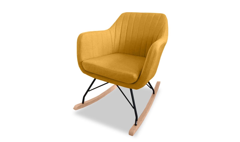 Scaun balansoar tapitat cu stofa cu picioare metalice Katell Mustard l61xA78xH75 cm