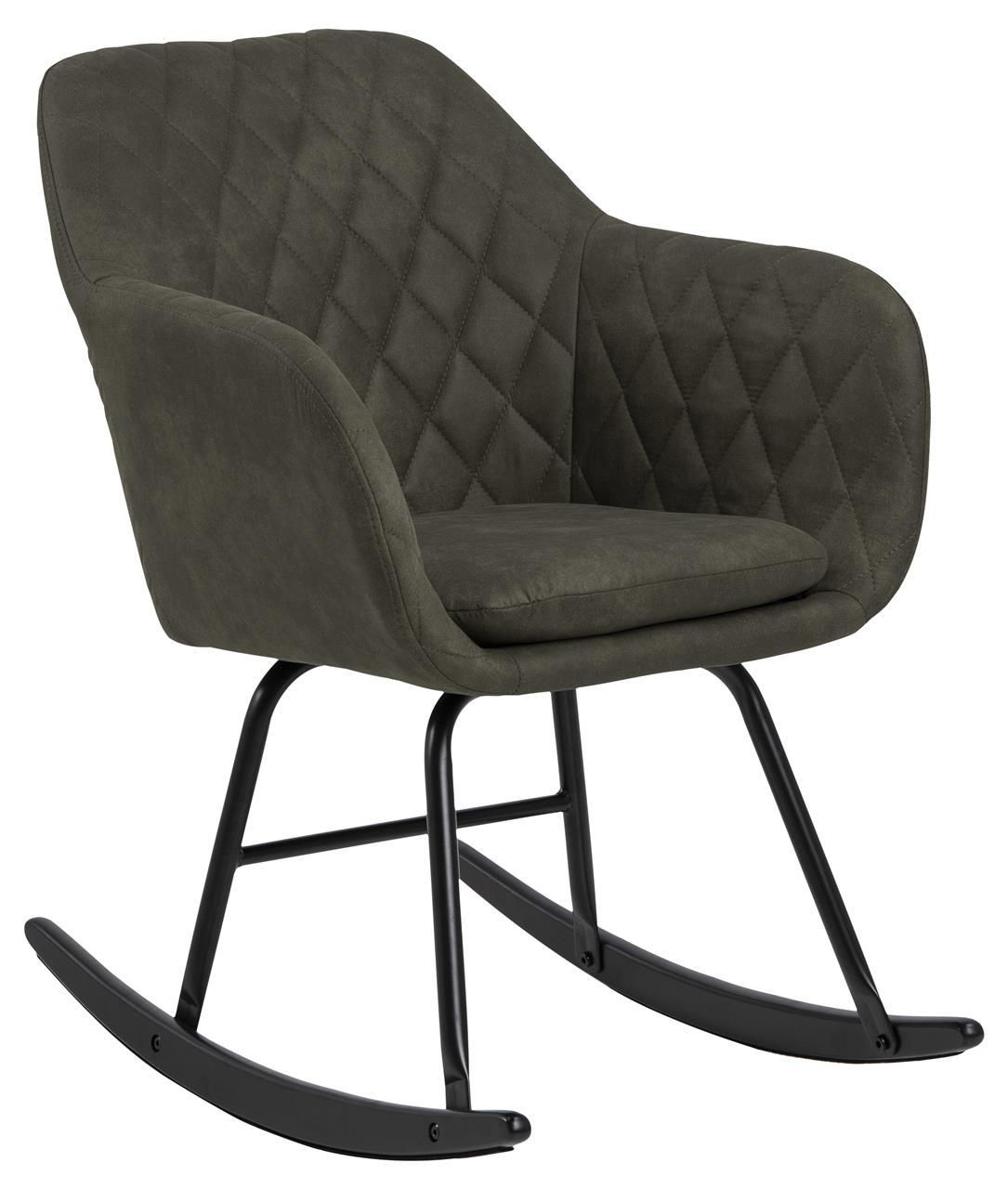 Scaun balansoar tapitat cu stofa si picioare din lemn si metal Emilia Verde Olive / Negru, l57xA71xH81 cm imagine