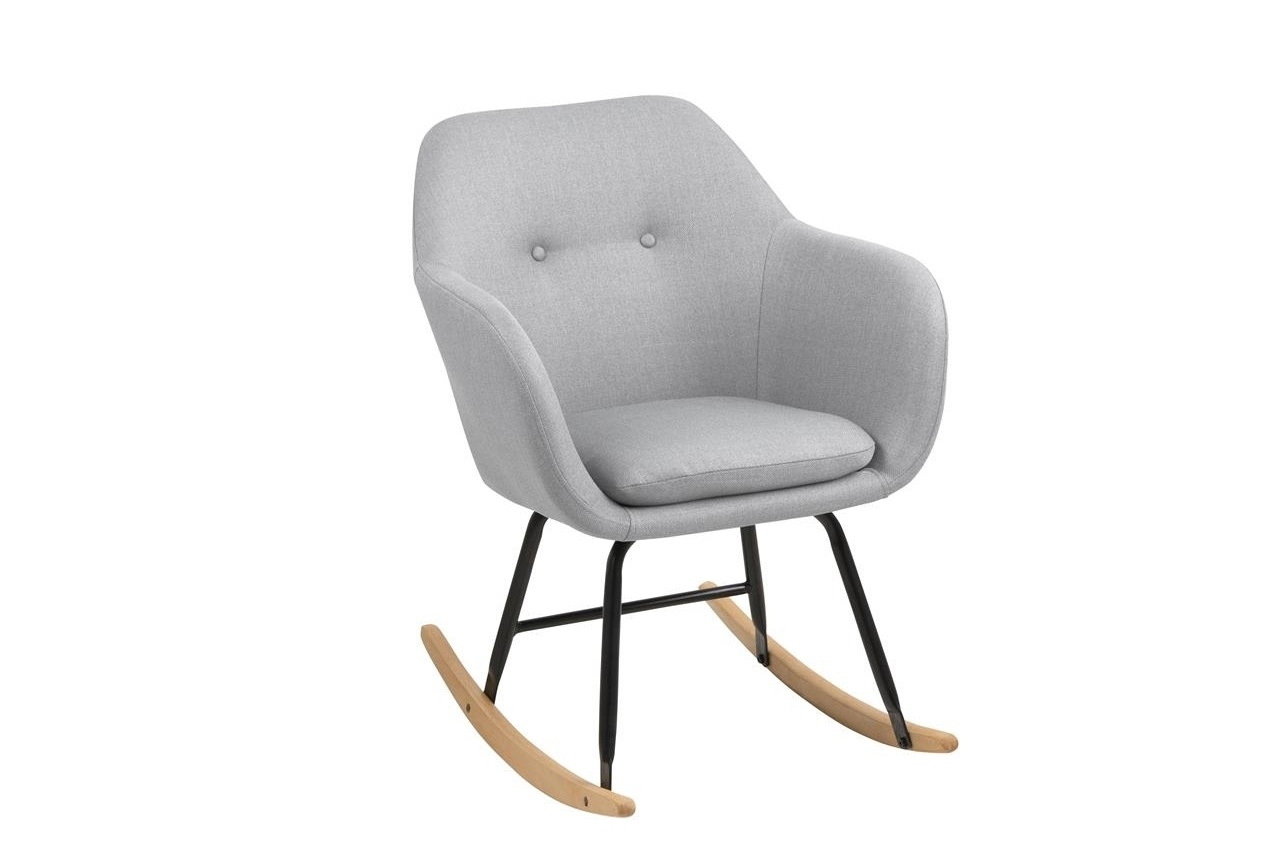 Scaun balansoar tapitat cu stofa si picioare din lemn si metal Emilia II Gri Deschis, l57xA71xH81 cm imagine