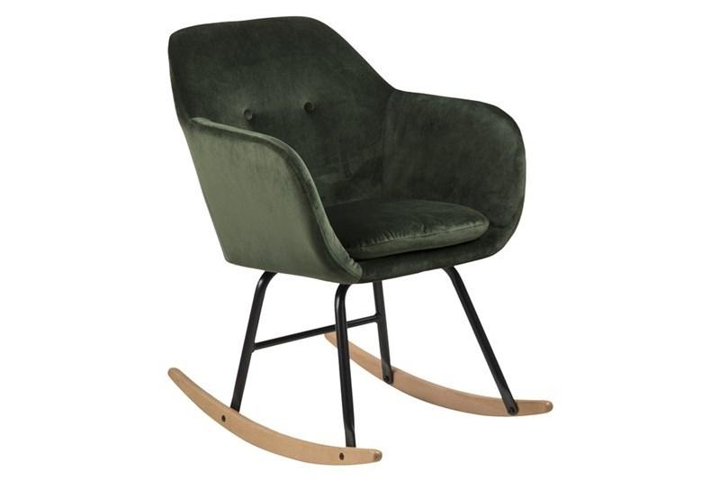 Scaun balansoar tapitat cu stofa si picioare din lemn si metal Emilia II Velvet Verde Inchis, l57xA71xH81 cm imagine
