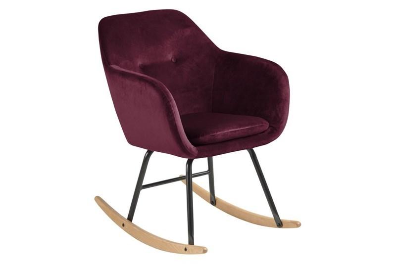 Scaun balansoar tapitat cu stofa si picioare din metal si lemn Emilia Bordeaux l57xA71xH81 cm