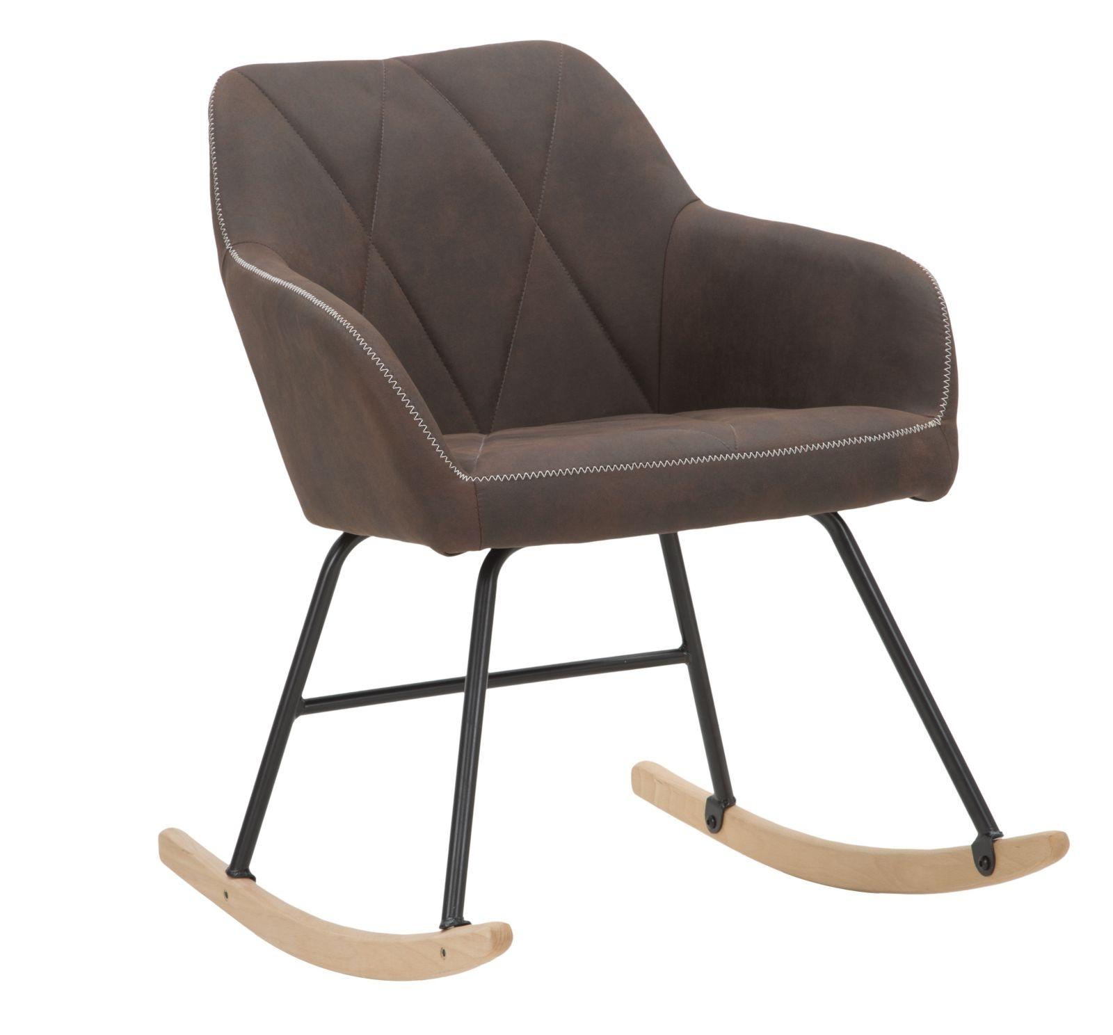 Scaun balansoar tapitat cu stofa, cu picioare din metal si lemn Underground Maro, l60xA72xH80 cm