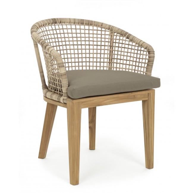 Scaun cu perna si picioare din lemn de tec Esperantos Natural, l62xA61xH77 cm