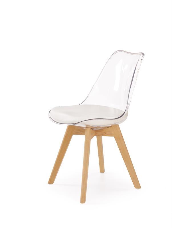 Scaun cu sezut tapitat cu piele ecologica, cu picioare din lemn K246 Transparent / White, l48xA44xH83 cm imagine
