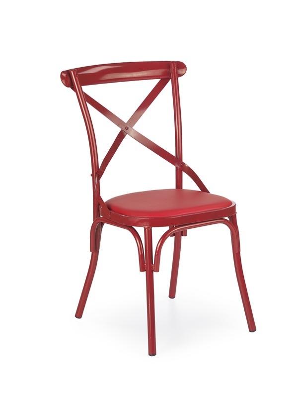 Scaun cu sezut tapitat cu piele ecologica, cu picioare metalice K216 Red, l50xA52xH88 cm