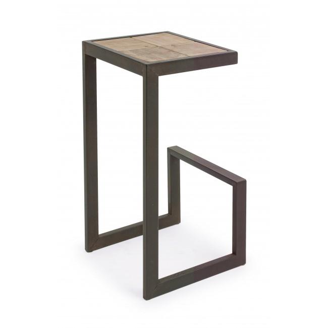 Scaun de bar din lemn de brad, cu picioare metalice Blocks Natural, l36xA32xH70 cm