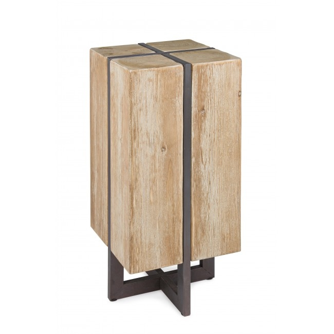 Scaun de bar din lemn de brad, cu picioare metalice Garrett Natural, l32xA32xH70 cm