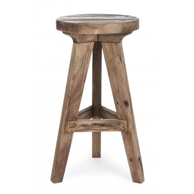Scaun de bar din lemn de pin reciclat Ellison Natural, Ø40xH70 cm