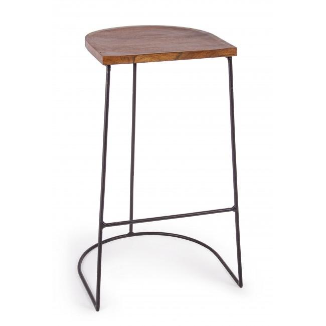 Scaun de bar din lemn de salcam, cu picioare metalice Edgar Natural / Negru, l40xA40xH78 cm