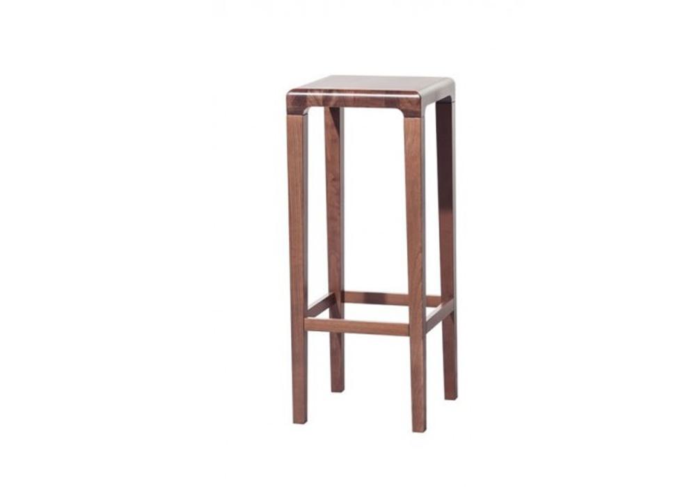 Scaun de bar din lemn de stejar Rioja Brown High, l32xA32xH80 cm poza
